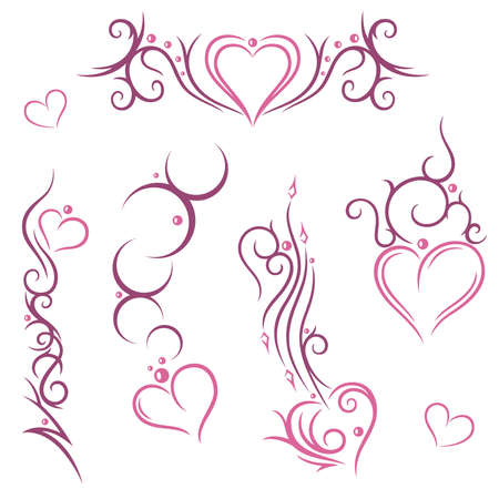 Colorful tribal with hearts, pink Vector