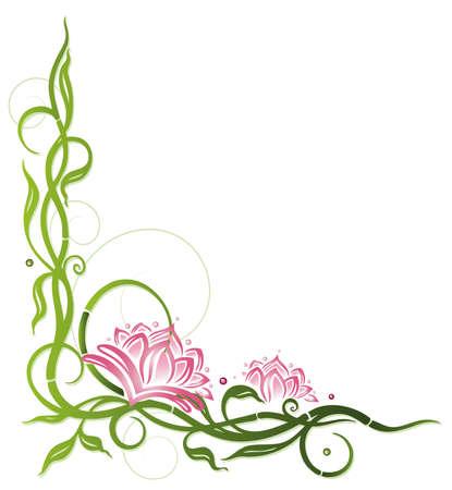 bambu: Flor de loto con bambú, decoración de bienestar Vectores