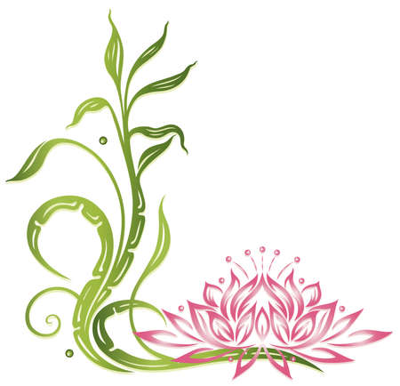 borders abstract: Lotus flower with bamboo, wellness decoration