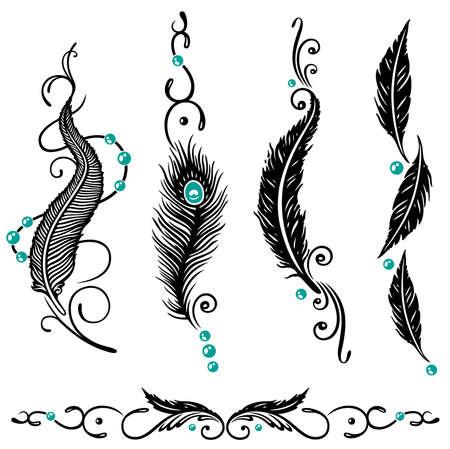 plume: Natif am�ricain, ensemble de vecteur de plume, noir et turquoise Illustration