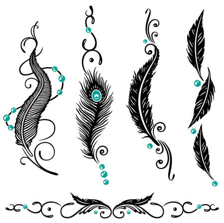 pluma: Nativo, americano set pluma vector, negro y turquesa Vectores