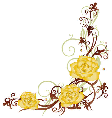 yellow: Colorful yellow roses, floral ornament