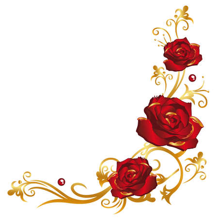 Colorful red and golden roses, floral ornament Illustration