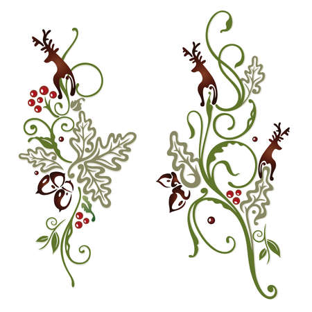 deer hunter: Colorful deer and oak leaves, abstract vector set Illustration