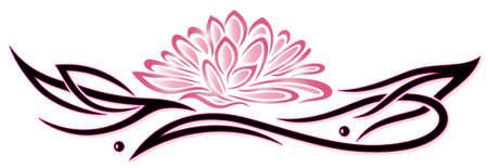 Lotus flower, tribal and tattoo style Illustration