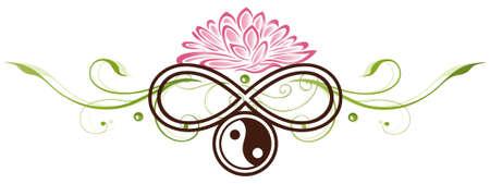 Lotus-Blume mit Yin und Yang-Symbol