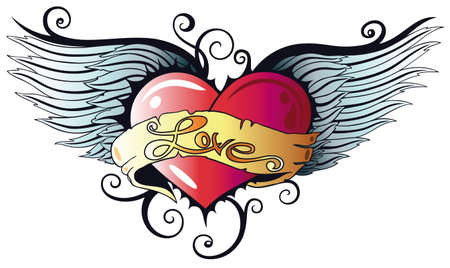 heart with wings: Colorful heart with wings, tattoo style Illustration