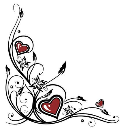 Bunte Herzen mit Tribal, rot und schwarz