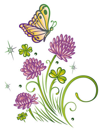 Colorful summer flowers, flowering clover Vector