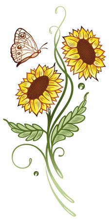 sun flowers: Beautiful colorful sun flowers with butterfly, summer flowers