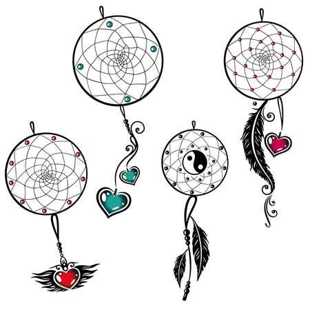 atrapasueños: Conjunto del vector del colector ideal con las plumas y los corazones Vectores