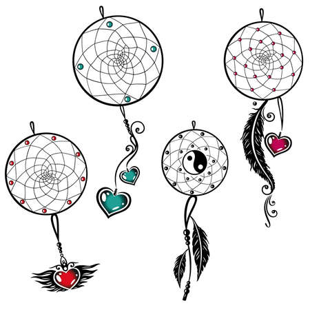 Vector set of dream catcher with feathers and hearts Vector