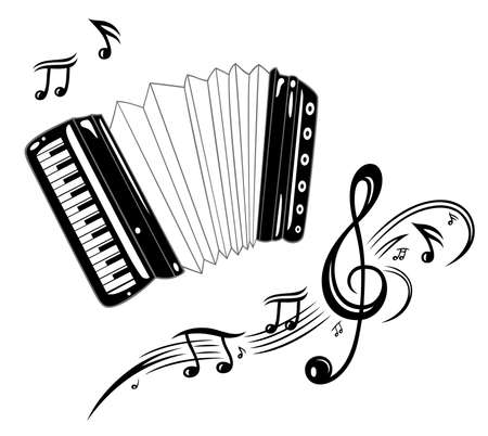 Accordion, musical instrument with music notes Illustration