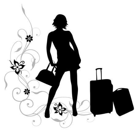 viaje de negocios: Empresaria con maletas en viaje de negocios Vectores