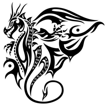 tribal dragon: Asian dragon with big wings, fantasy