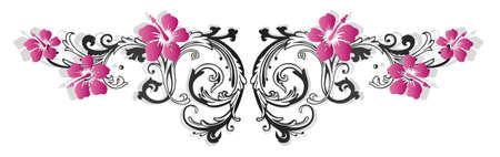 Bunte Blumenbeete mit Hibiskus