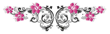 pink and black: Colorful flower border with hibiscus Illustration