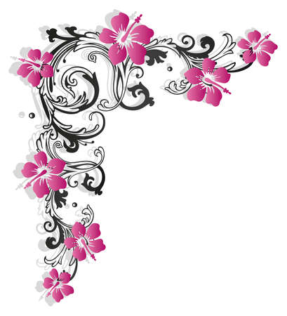 pink border: Colorful flower border with hibiscus Illustration