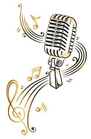 Mikrofon mit Musiknoten und Notenblatt