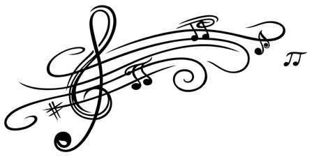 notes music: Music sheet with clef and music notes Illustration