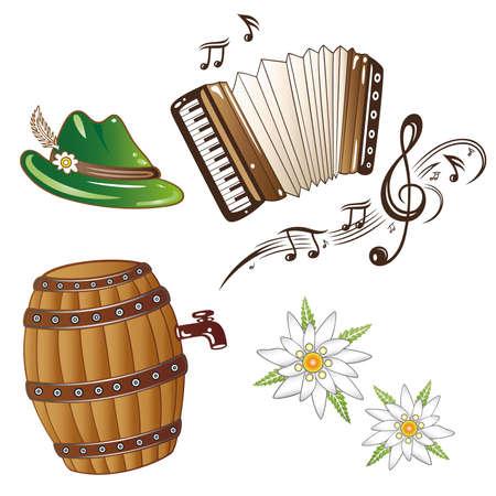 acordeón: Decoración Oktoberfest, elementos de diseño Vectores