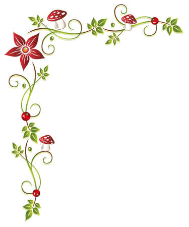 Tendril with leaves and mushrooms Vector