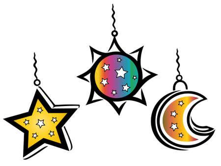 sonne mond und sterne: Bunte Laternen, Sonne, Mond und Sterne