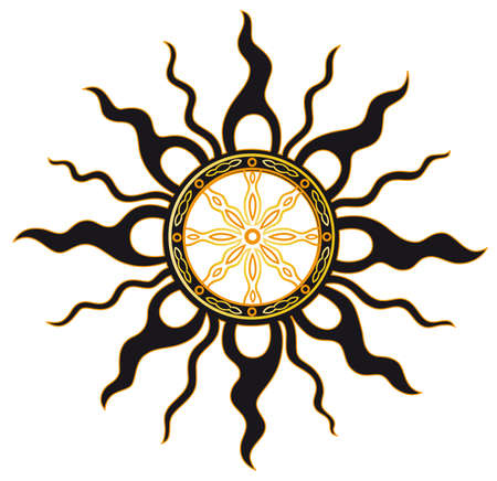 midsummer: Summer sun with midsummer wheel