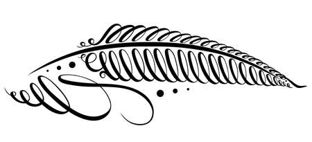 feather pen and ink: Calligraphy design element, filigree feather