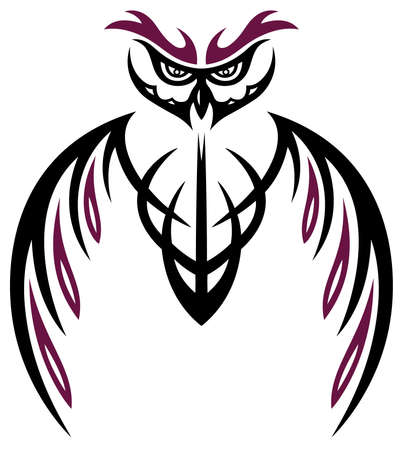 owl tattoo: Owl with large wings, animal tattoo