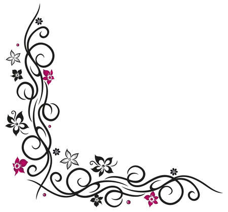 pink and black: Flower decoration, tribal and tattoo style Illustration