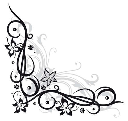 decors: Flower decoration, tribal and tattoo style Illustration
