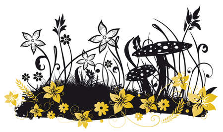 fall mushroom: Meadow with flowers, grasses and butterflies Illustration