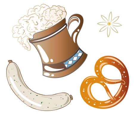 oktoberfest food: Oktoberfest food, beer and pretzel