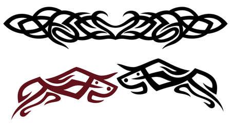 set with taurus, tattoos Vector