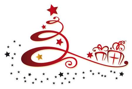 Colorida decoración de navidad, árbol de navidad y las estrellas Vectores