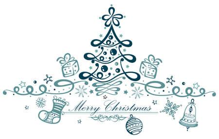 Bunter Weihnachtsschmuck, Weihnachtsbaum und Sternen