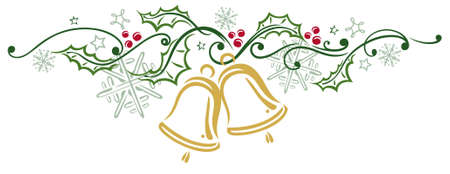 christmas decoration: Colorful Christmas decoration, christmas bells and holly