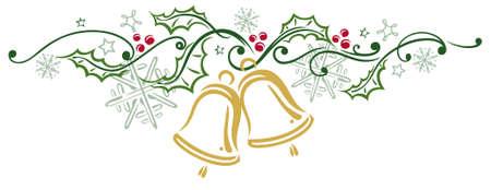campanas: Decoraci�n colorida de Navidad, campanas de navidad y acebo Vectores