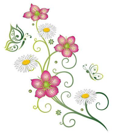 margriet: Kleurrijke lente bloemen met madeliefjes en vlinders Stock Illustratie
