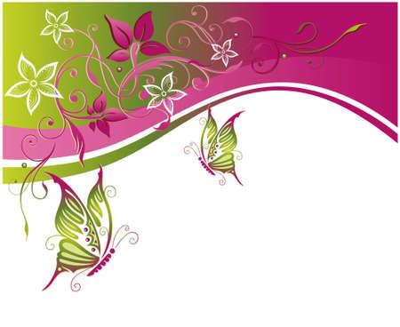 Imagen de la flor con grandes mariposas Vectores