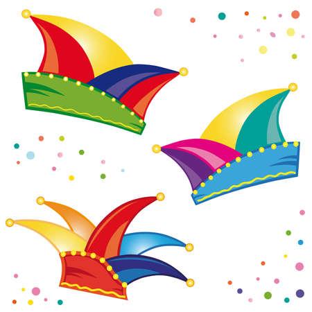 tonto: Sombreros coloridos para el carnaval, con confeti