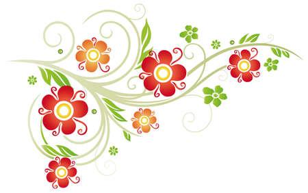 springtime flowers: Colorful vintage flowers, springtime border