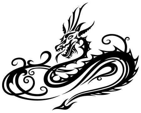 tatouage dragon: Dragon Fire, Tribal filigrane et Tattoo Illustration
