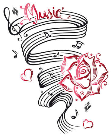 tatouage fleur: Grande feuille de musique avec les notes musicales, clef et rose Illustration