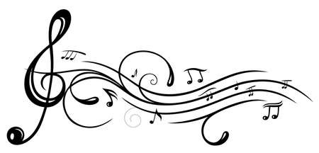 music abstract: Music sheet with clef and music notes Illustration