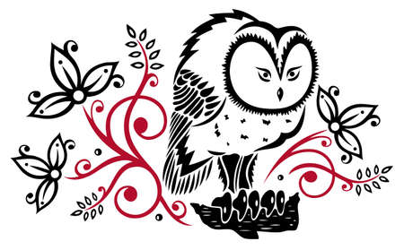 birds eye view: Owl with abstract flowers and leaves