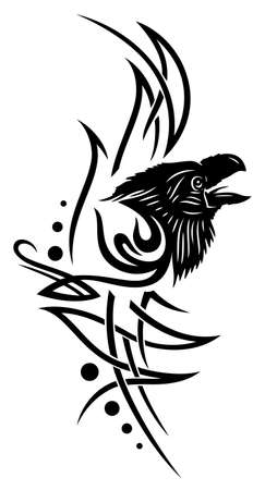 crows: Tribal tattoo with raven, crow