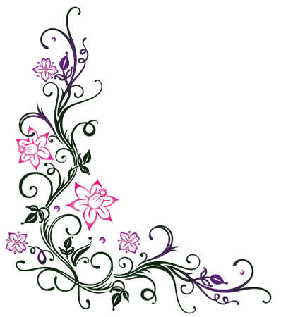 vine border: Colorful flowers, springtime border