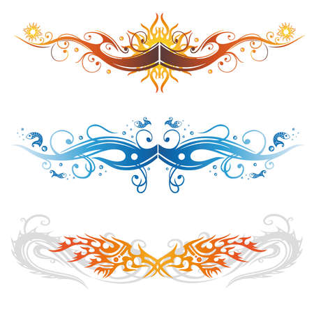 fish fire: Abstract vector set, colorful tribal tattoos and
